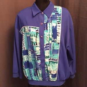Vintage Graff Californiawear Blue Abstract Blouse